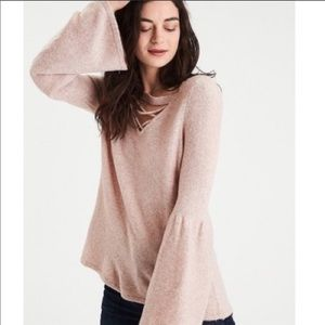 AEO Dramatic Bell Sleeve Lace Up Neck Sweater